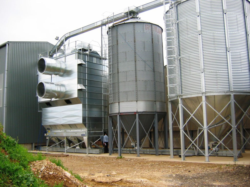 New 40 Ton Per Hour Svegma Tower Drier and Hopper Bottom Silos